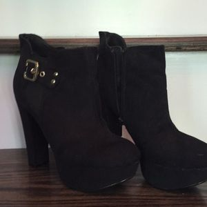 G by Guess platform black suede booties